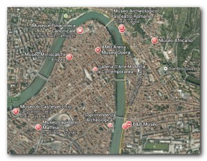 foto satellite mappa dei musei a Verona